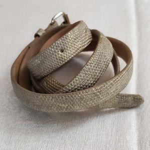 Ann Taylor Beige Skinny PU Leather Belt (M) #472